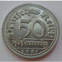 """Веймарская республика 50 пфеннигов 1921 """"G"""" """"Сноп пшеницы"""""""