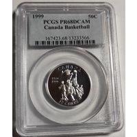 Канада 50 центов 1999 года. Баскетбол. Серебро. Пруф. В грейде PCGS PR68!