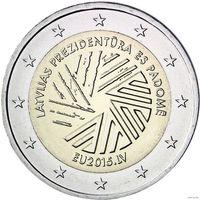 2 евро 2015 Латвия Председательство в ЕС UNC из ролла
