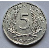 Восточные Карибы 5 центов, 2004 г.
