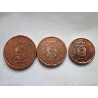 1 + 2 + 5 евроцентов, Латвия 2014 г., AU