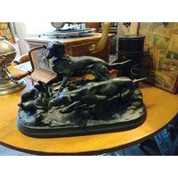 091 Собаки на стойке Охота на куропатку Поинтер Сеттер Чугун Касли 1951 Большие! XX век. без минимальной цены с рубля