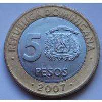 Доминикана, 5 песо 2007 г.