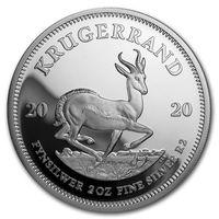 "RARE ЮАР 2 Рэнда 2020г. ""Крюгерранд/Krugerrand"". PROOF. Монета в капсуле; подарочном футляре; номерной сертификат; коробка. СЕРЕБРО 62,238гр. (2 oz)."