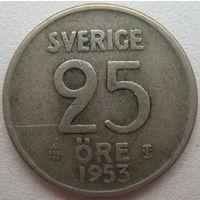 Швеция 25 эре 1953 г. серебро (d)