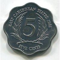 (A4) ВОСТОЧНО КАРИБСКИЕ ШТАТЫ - 5 ЦЕНТОВ 1981 UNC