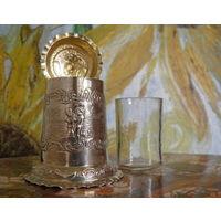 Антикварная кружка из стерлингового серебра с крышкой Клейма Лондон