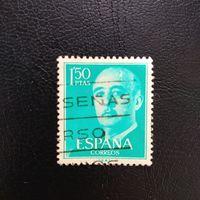 Марка Испания 1956 год. Генерал Франко