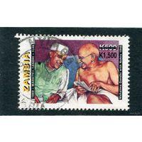 Замбия. М.Ганди и Д.Неру.  Надпечатка 1500К на 500К