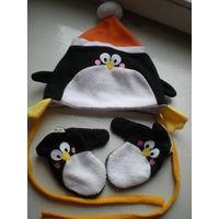 Комплект деми шапка и рукавички 1-2г
