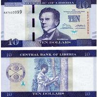 Либерия  10 долларов 2017 год  UNC (новинка)