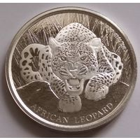 """Гана 2017 серебро (1 oz) """"Африканский леопард"""" (первая монета серии)"""