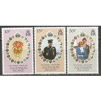 Остров Вознесения. Принц Чарльз и леди Диана. Королевская свадьба. 1982г. Mi#299-01. Серия.
