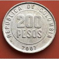 119-07 Колумбия, 200 песо 2007 г. Единственное предложение монеты данного года на АУ