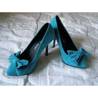 Туфли 34-35-36 бирюзовые с бантиком, модельные, велюр, новые, без дефектов