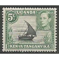 Кения Уганда и Танганьика. Король Георг VI. Парусник. 1938г. Mi#53.