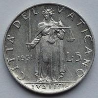 Ватикан 5 лир, Папа Пий XII. 1951