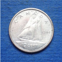 Канада 10 центов 1961 Серебро