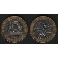 Франция _km964 10 франков 1989 год (обращ) km964.1 (разн1)гурт.сегм5(12) (f32)