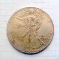 США 1 доллар 1900г унция -посеребрение-