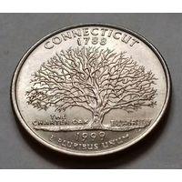 25 центов, квотер США, штат Коннектикут, P D