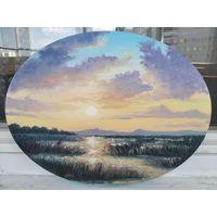 Картина маслом Закат на болоте