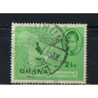 GB Доминион Гана 1957 Независимость (I) Кваме Нкрума - первый премьер-министр Пальмовый гриф Карта #2