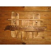Вешалка деревянная на 3 крючка.для баньки.ручная работа.