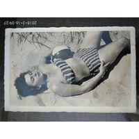 Открытка Девушка в купальник 1945 г Magdeburg