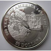 Острова Кука. 50 долларов 1992. Серебро. Пруф. 164