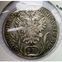 """РАСПРОДАЖА!!! - АВСТРИЯ 20 крейцеров 1788 год """"ИОСИФ II"""" (серебро)"""