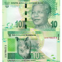 ЮАР. Южная Африка 10 рэндов  UNC   (носорог)