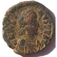 ВИЗАНТИЯ. ЮСТИН I (518-527 г.) КОСТАНТИНОПОЛЬ. 1/2 ФОЛЛИСА.