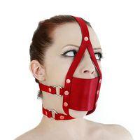 BDSM маска для лица со скрытым кляпом - красная
