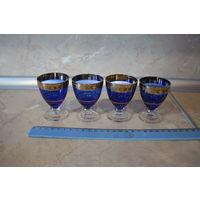 Рюмки, (синее стекло с позолотой) 4 шт, СССР