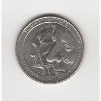 """25 центов (квотер) США """"Нацмемориал Маунт-Рашмор"""" 2013 D Лот 4218"""