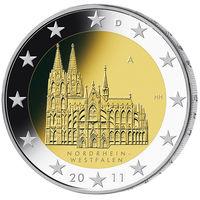 2 евро 2011 Германия F Федеральные земли Германии - Кёльнский собор UNC из ролла