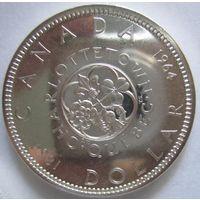 Канада. 1 доллар 1964. 100 лет Шарлоттауну и Квебеку. Серебро. 279