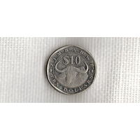 Зимбабве 10 долларов 2003 фауна//(МJ)