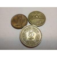 Пакистан 1, 2, 5 рупий 1998-2006 набор