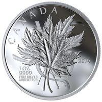 """Канада 20 долларов 2019г. """"Любимый кленовый лист"""". Монета в капсуле; подарочном футляре; номерной сертификат; коробка. СЕРЕБРО 31,39гр.(1 oz)."""