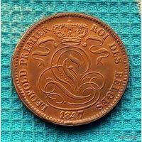 Бельгия 10 центов 1847 года. Лев.