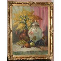 """Картина"""" Натюрморт с мимозой"""" Lacroix.  Масло.Холст.Резьба."""