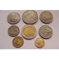 "Тайланд. набор из 8 монет - 25,50 сатангов-1 бат-5 батов  ""Фауна"" ""Слоны"""