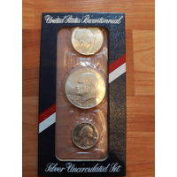 Набор монет 1976-S Bicentennial Uncirculated Set 3 Coin 1776-1976 (40% Silver)