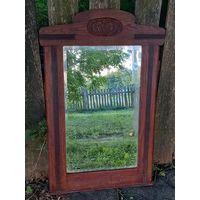 Зеркало старинное 19 век резьба 90 на 62 см