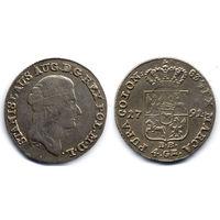 Злотый (4 гроша серебром) 1791 ЕВ, Станислав Август Понятовский. Старая патина, красивое состояние