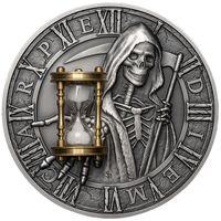 """RARE Ниуэ 5 долларов 2018г. """"Помни о смерти"""". Монета в капсуле; подарочном футляре; сертификат; номер монеты на гурте; коробка; песочные часы. СЕРЕБРО 62,27гр.(2 oz)."""