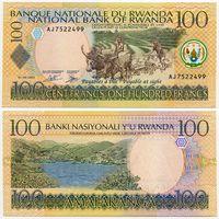 Руанда. 100 франков (образца 01.09.2003 года, P29b, UNC)