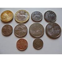 Зимбабве. Полный набор 10 монет 1 цент - 25 долларов 1988 - 2003 год